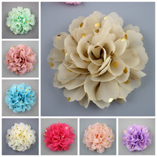 2017 now Europe style 10CM 3d bronzing Dot Chiffon fabric flower in decoration flowers in stock