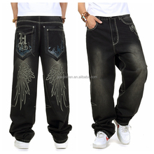 New Design Baggy Style Printing Wing Large Losse Casual Skateboard Pants Hip Hop Denim Jeans for Men