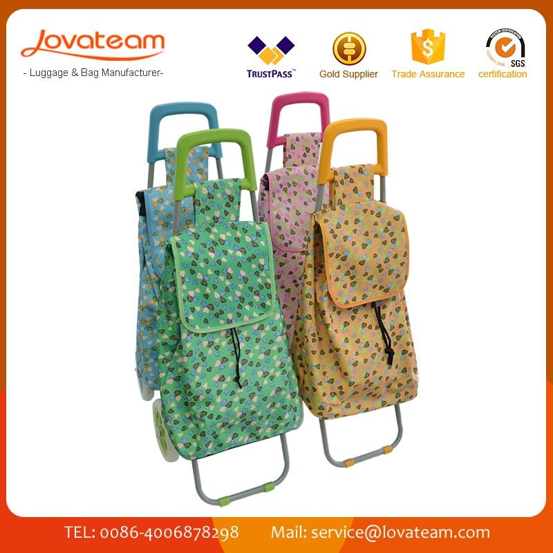 2017 OEM Foldable Non-Woven Polyester Shopping trolley Bag supermarket