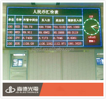currency exchange rate board display 4.75mm pixel indoor led board