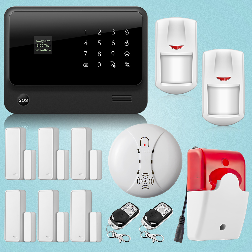 Black Appearance Wifi+GSM Dual Network Home Security Seven Voice Prompt APP Controlled Alarm System.