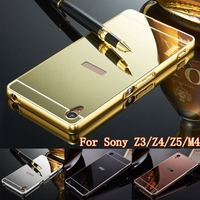 New Aqua Cover Gold Plated Acrylic Mirror Case For Sony Xperia M4 Metal Aluminum Frame Fundas Cover For Sony Z3 Z4 Z5 Case Coque