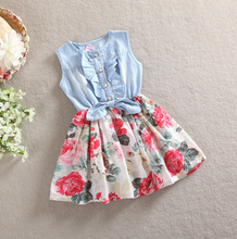 SEV.WEN Summer Children Clothes Sleeveless Denim Tops Floral Tutu Skirts Baby Girls Princess Dress