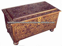Large size through wood carving treasure chest box