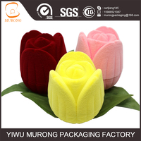 Tulip shape ring box flocking box for jewelry