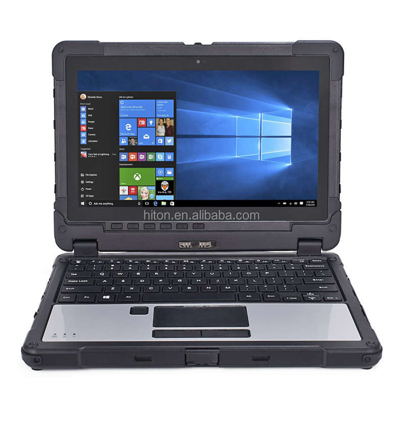 Highton 11.6inch 8G+128G Fully Rugged Tablet Laptop, Cheapest notebook computer with  Barcode Fingerprint Scanner