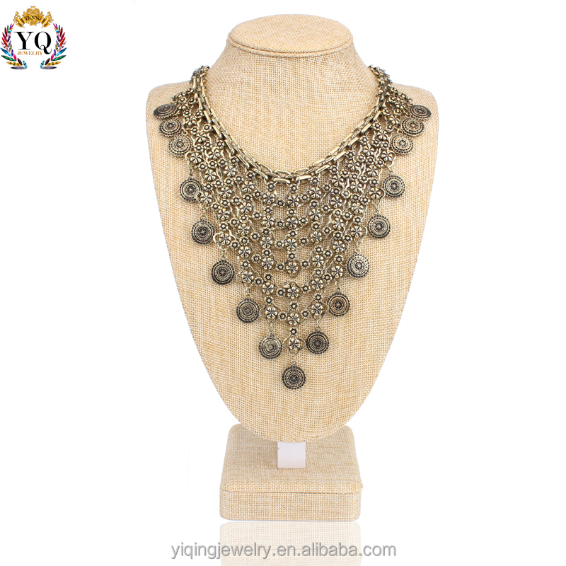 NYQ-00063 fashion jewellry multilayers fake silver/gold plated net fashion collar jewellery bib pendant necklace