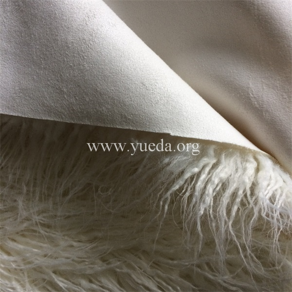 white natural colour long pile mongolian faux lamb fake fur bonded with faux suede fabric