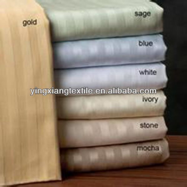 open selvedge CVC 50/50 235T 2cm satin stripe bed sheeting fabric, cotton sateen fabric