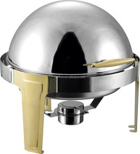 Catering services dished roll top round chafing dish