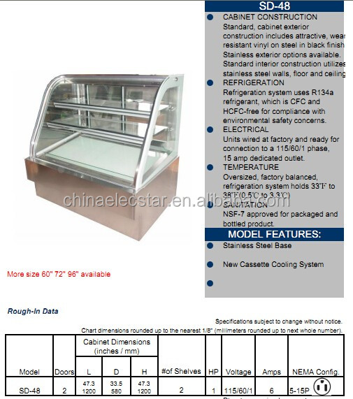 Supermarket commercial deli cases for sale/glass deli meat case/refrigerators display