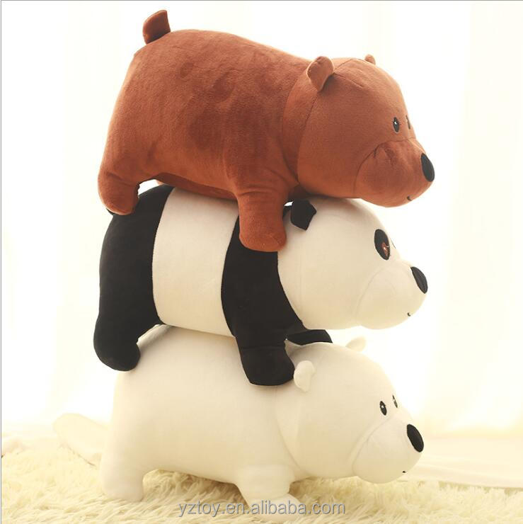1pcs 25cm We Bare bears Cartoon Bear , grizzly panda stuffed plush toy doll doll birthday giftkids toy
