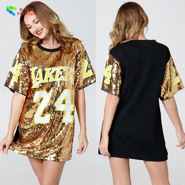 YIZHIQIU womens clothing  sequin tshirts sport jersey dress