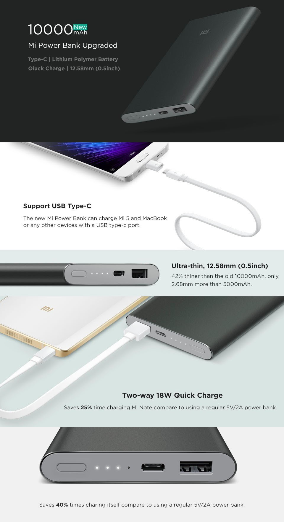Original Xiaomi 10000mAh Pro Power Bank Ultra Slim 18W Quick Charger QC2.0 (12V 1.5A/9V 2A/5V 2A ) support Type-C