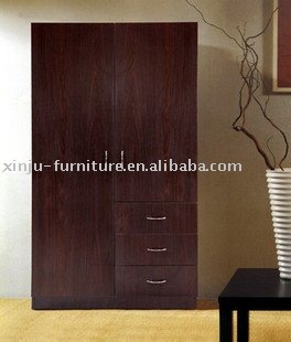 Wooden paper 2 door hanging clothes wardrobe