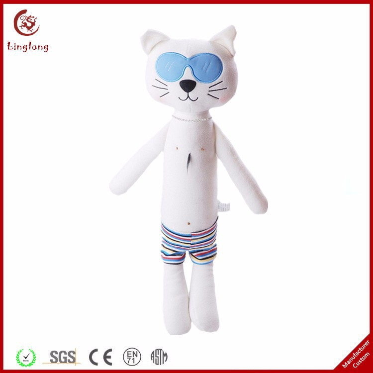 Stuffed Kitten With Stripe Swimming Trunks Gift Ornaments Applique Sunglass Cat Toy Cartoon Plush White Tall Cat Toy