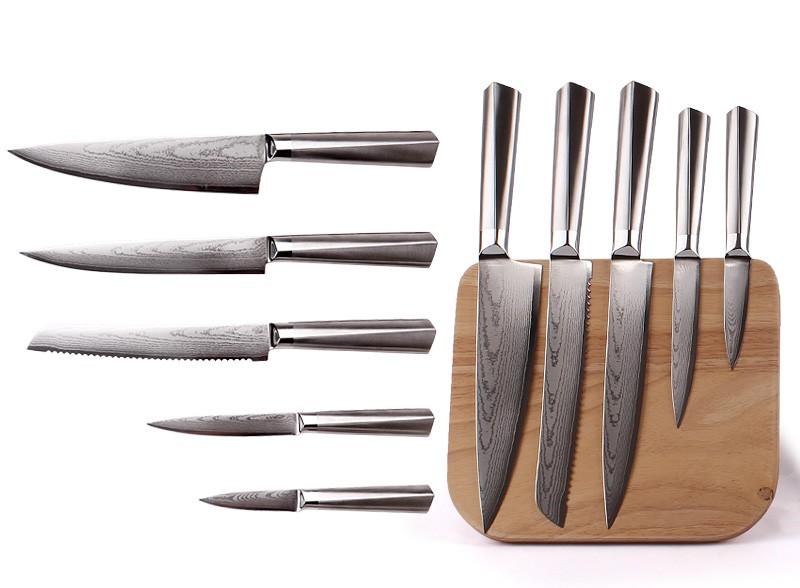 5pcs good quality damascus kitchen knife buy damascus