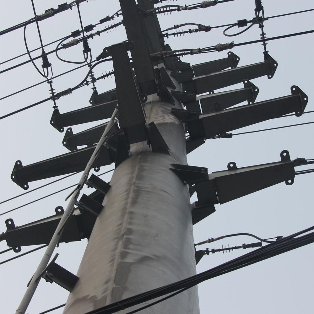 Power Transmission Poles : Hdg selfsupport monopole power transmission pole steel