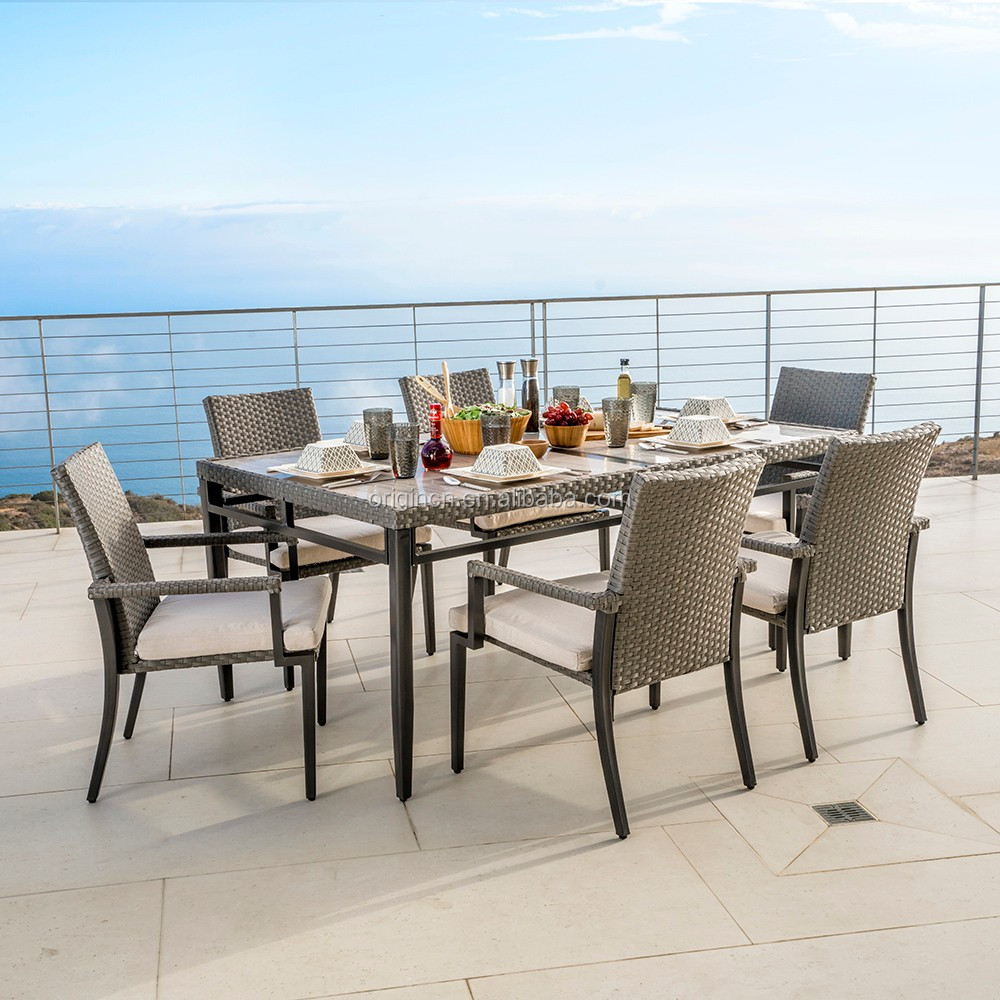 Luxury patio outdoor dining furniture set rectangular table and rattan garden line stacking chair