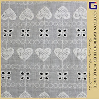 [GLORY]2015 cheap cute heart design cotton lace embroidery fabric for girl dress