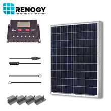 Renogy 100W 100 Watt 12V Poly Solar Panel Off Grid Kit W/ LCD Controller for RV Boat Home Power System