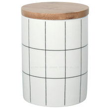 Ceramic Food tea coffee Storage <strong>Containers</strong> with Wooden Lids White Storage Jar Wholesale