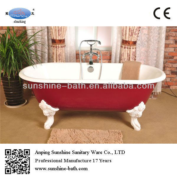 Classical red color freestanding cast iron double ended claw foot bathtub