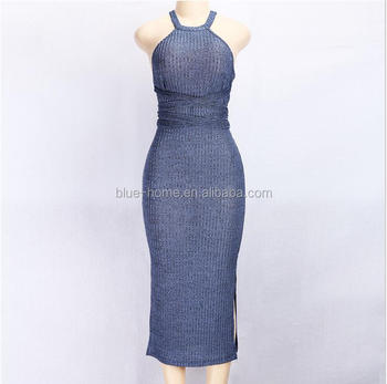 Europe and America popular backless sleeveless clothing 2017 woman sexy party club bandage dress