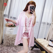 Elegant Robe Gown Sets Lace Trim Sexy Ladies Satin Pajamas Harnesses Smooth Home Suit Three Piece Set Sleepwear
