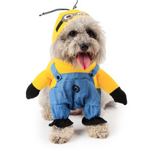 Winter Pet Dog Clothes,Yellow Minions Cartoon Costume,Cheap Dog Coat Fashion Dog Hoodies Jeans Cat Clothing