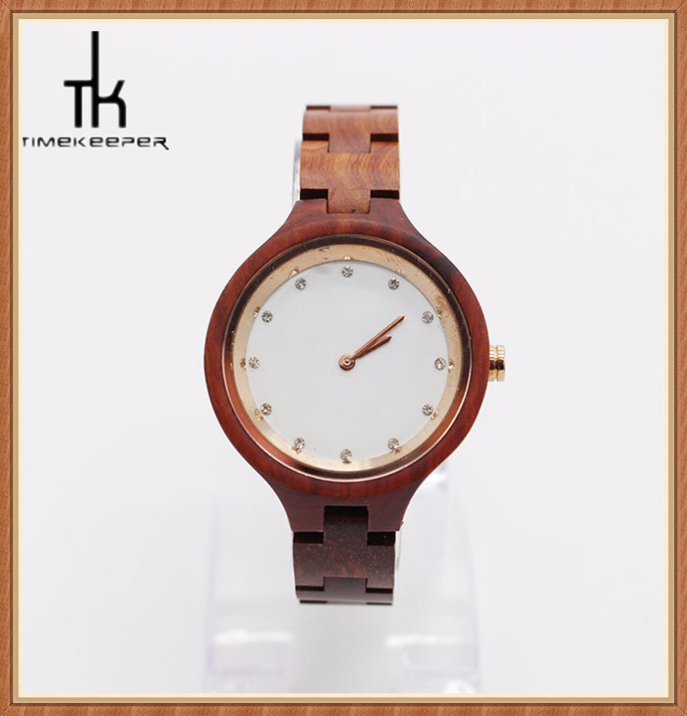 Beautiful simple diamonds dial plate design Luxury wood watch oem watch for women love wristwatches