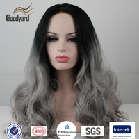 Ombre Grey Wig Synthetic Lace Front Glueless Long Natural Black 1B/Gray Heat Resistant Hair Wigs