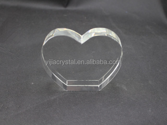 Blank Heart Shape Crystal Glass Cube for Engraving