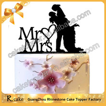 Newest design wedding decorations Mr&Mrs Cake Topper Acrylic Love Silhouette Wedding Cake Topper