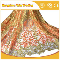 "2016 51-52"" fashion designs lace fabric new sample for wedding dress in orange and green"