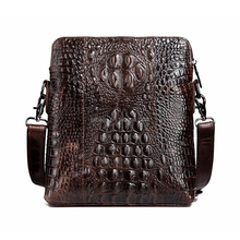 ks-047 Genuine Oil Wax Upper Cowhide Crocodile Handbags Male Crazy Horse Leather Messenger Bags