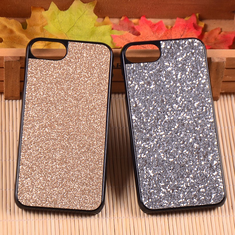 Hot Selling Hard Plastic PC Back Cover With Glitter Sticker Phone Case For iPhone 7