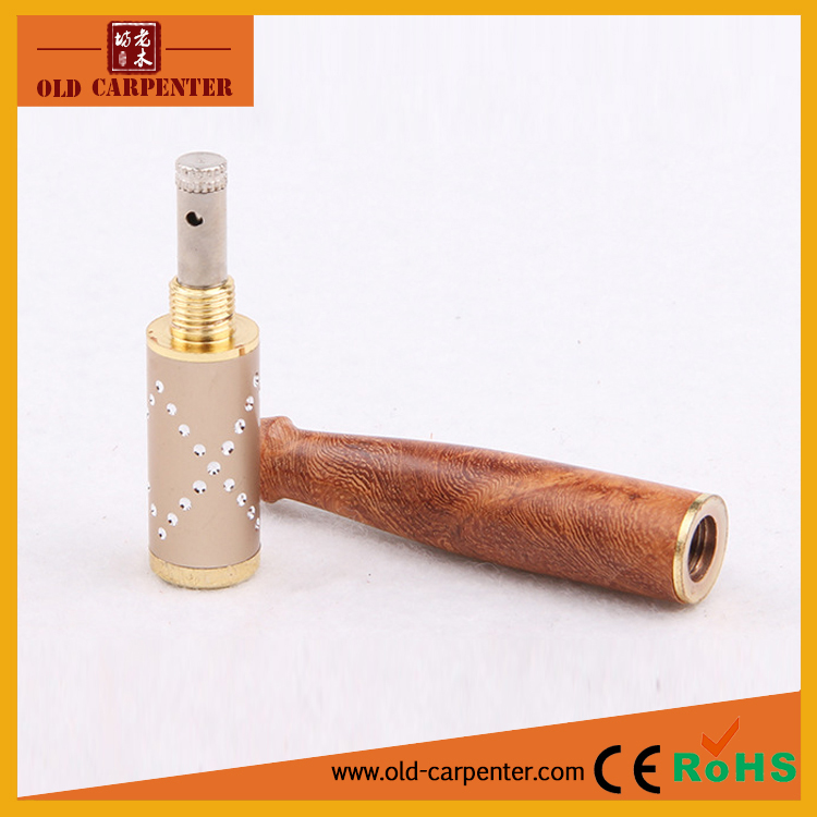 Vintage reusable double filter pull-rod washable wooden cigarette holder