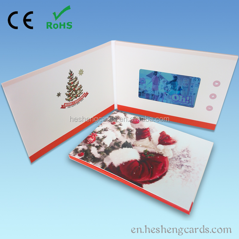 Digital Printing Type Video Brochure Card , Christmas LCD Video Greeting Card in Paper Crafts