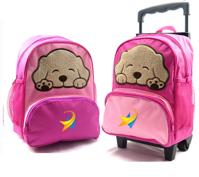 Wholesale Kids 2 in 1 Trolley and Backpack Cute Child Kids Boy Girl's School Backpack Trolley Bag