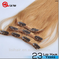 "China Golden Supplier 100% Remy Human Hair Thick Cuticles Correct white human hair extensions clip in 20"" 170g"