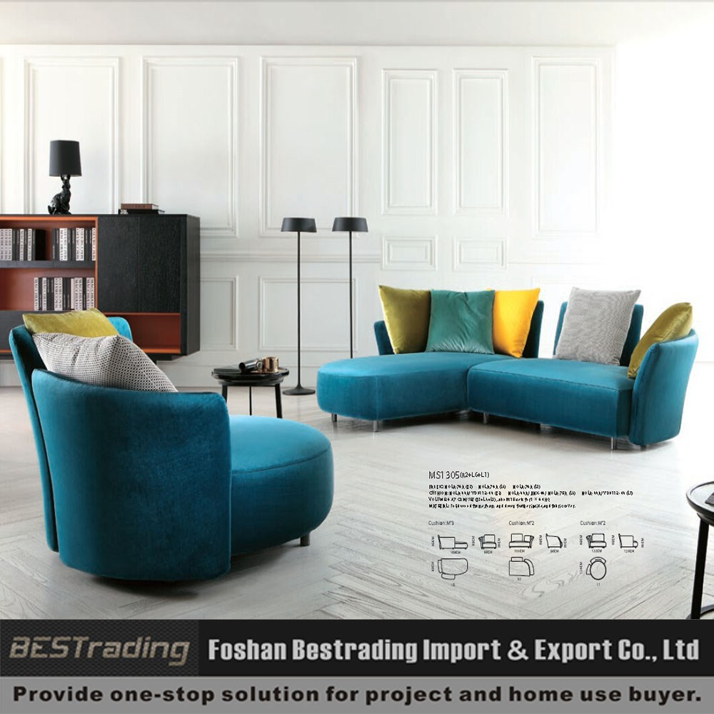 high end modern fabric L shape sectional sofa