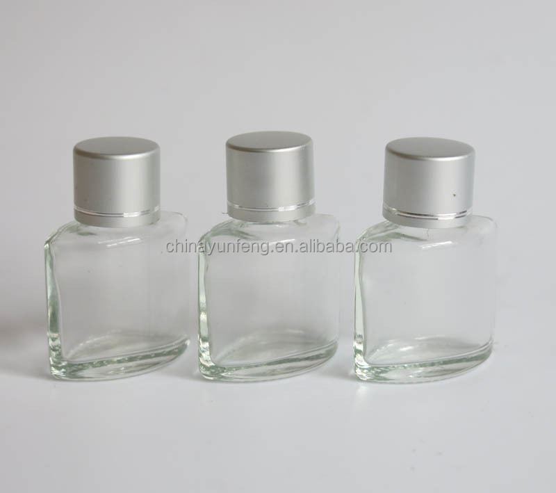 Fancy perfume transparent glass bottle with silver cap