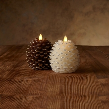 "3.5"" x 4"" Pine Cone Shape Battery Operated Realistic Flame LED Wax Candle Light with Timer"