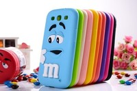 Cute 3D cartoon kids Silicone M&M Chocolate Beans Case cover for Samsung galaxy S3 I9300 ,100pcs/lot