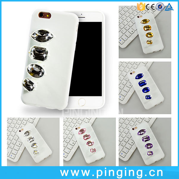 Luxury Fashion Silicone Case For Mobile Phone iPhone 5 5S Se Gem Diamond Bracket Ring Phone Case