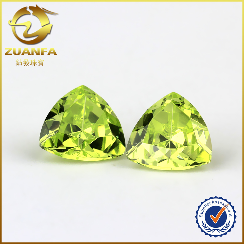 7*7mm apple green trillion cut clear cubic zirconia cz gems with taobao/low price