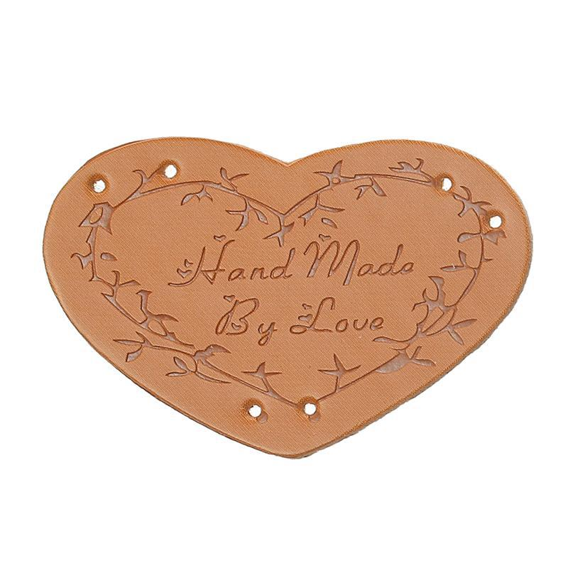 Light Brown Branch Pattern Handmade By Love Heart Polyurethane Leather Label 45mmx30mm, 20 PCs