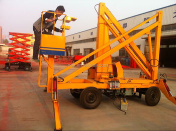 CE Diesel engine boom lift folding arm aerial work platform with 14m height