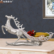 christmas home decoration small size animal figurines resin deer fruit plate resin fruit dish